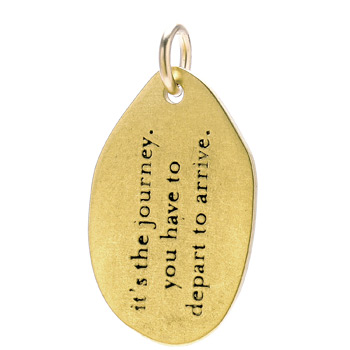 """it's the journey"" charm, gold dipped"