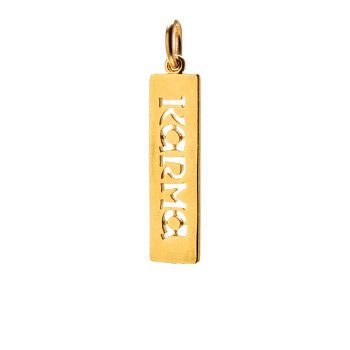 """karma"" word charm, gold dipped"