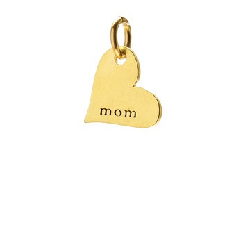 """mom"" heart charm, gold dipped"