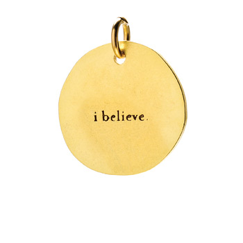 """I believe"" charm, gold dipped"