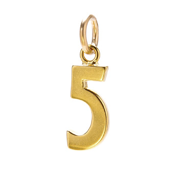 number &quot;5&quot; charm, gold dipped
