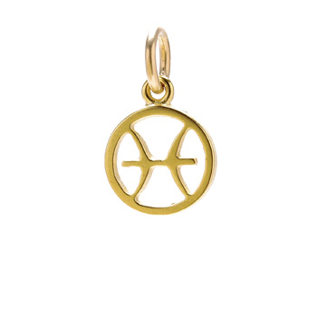 zodiac+%22pisces%22+charm%2C+gold+dipped