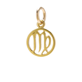 zodiac+%22virgo%22+charm%2C+gold+dipped