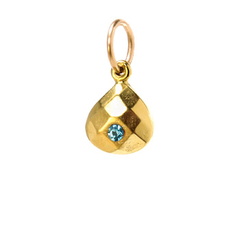march birthstone charm, gold dipped