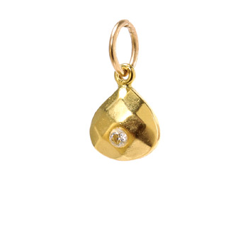 april birthstone charm, gold dipped