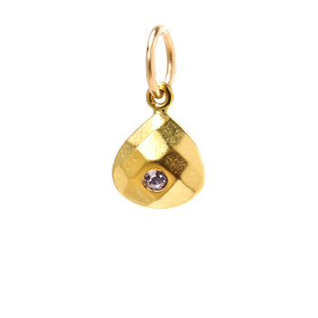 june birthstone charm, gold dipped