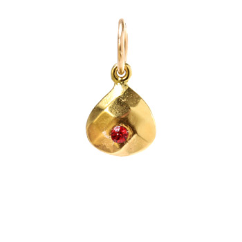 july birthstone charm, gold dipped