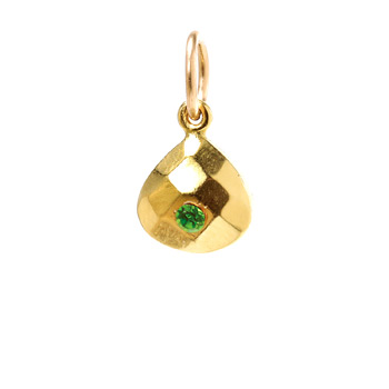 august birthstone charm, gold dipped