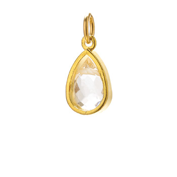 rock crystal pendant gem, gold dipped