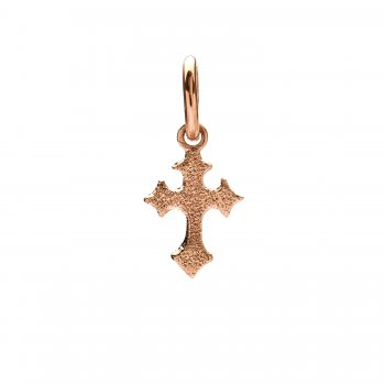 gothic cross charm, rose gold