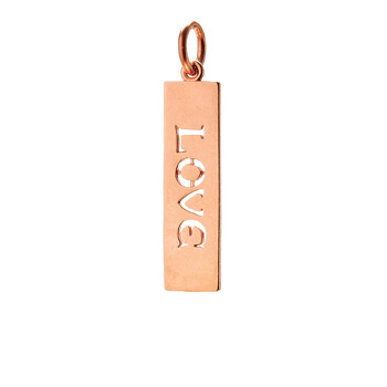 &quot;love&quot; word charm, rose gold dipped