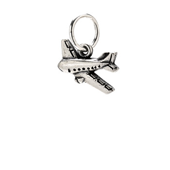 airplane charm, sterling silver