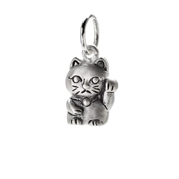 lucky cat charm, sterling silver