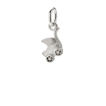 baby carriage charm, sterling silver