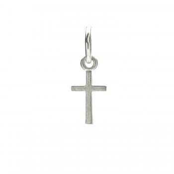 simple cross charm, sterling silver