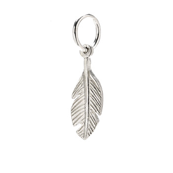 feather charm, sterling silver