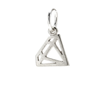 diamond charm, sterling silver