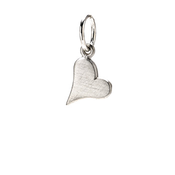 happy heart charm, sterling silver