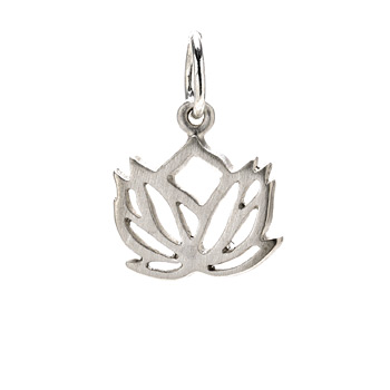 rising lotus charm, sterling silver