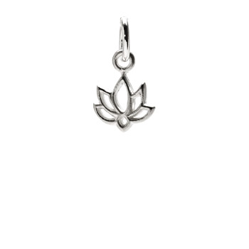 happy lotus charm, sterling silver