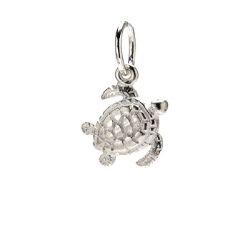 sea turtle charm, sterling silver