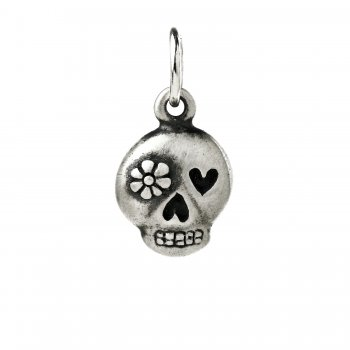 flower skull charm, sterling silver