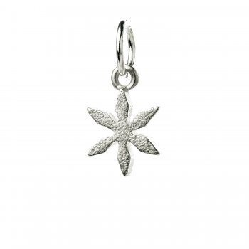 star flower charm, sterling silver