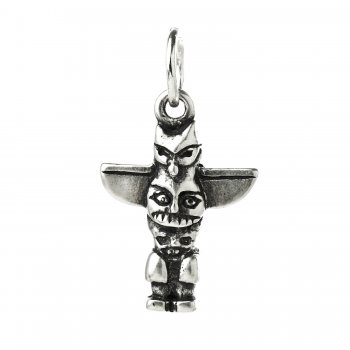 totem pole charm, sterling silver