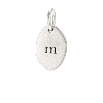 &quot;M&quot; charm, sterling silver