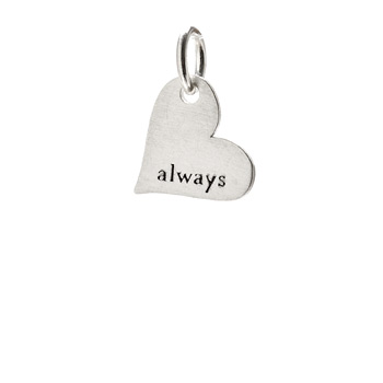 """always"" heart charm, sterling silver"