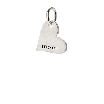 &quot;mom&quot; heart charm, sterling silver