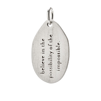 """believe in the possibility charm"" sterling silver"