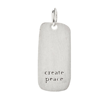 &quot;create peace&quot; charm, sterling silver