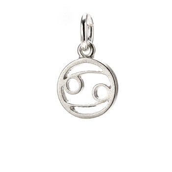 "zodiac ""cancer"" charm, sterling silver"