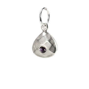 february birthstone charm, sterling silver