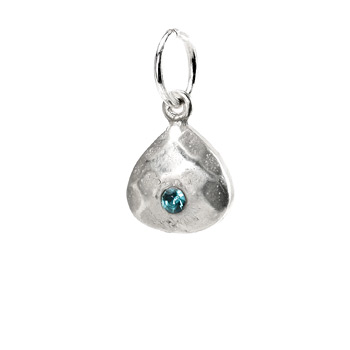 march birthstone charm, sterling silver