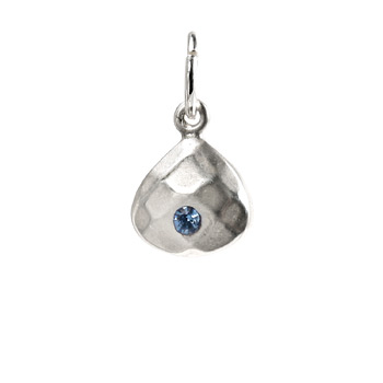 december birthstone charm, sterling silver