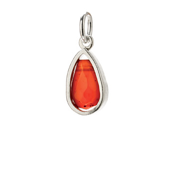 carnelian pendant gem, sterling silver