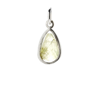 green quartz pendant gem, sterling silver