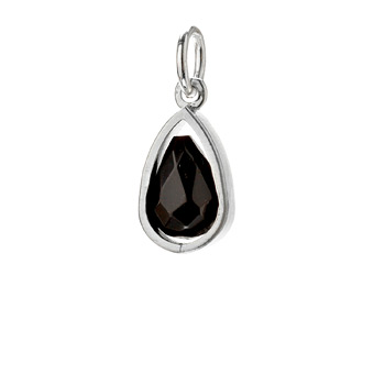 black onyx pendant gem, sterling silver