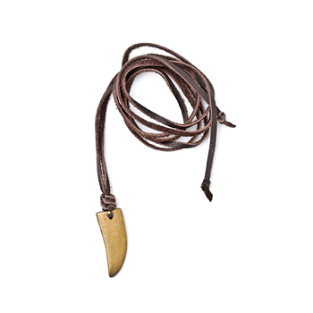 jewel box chocolate leather necklace with brass horn - 52 inches
