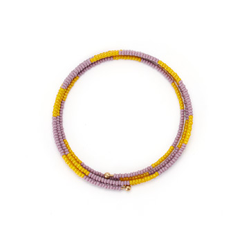 limited edition jewel box memory mustard and lilac bead bracelet