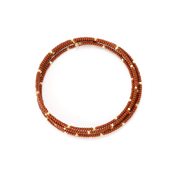limited edition jewel box memory rust and gold bead bracelet
