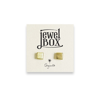 jewel box gold dipped square stud earrings