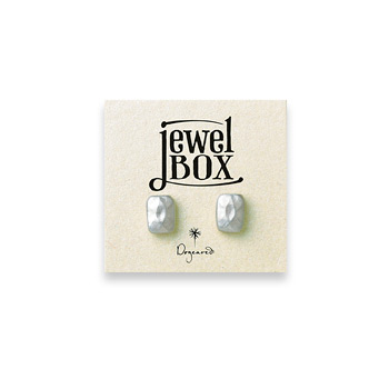 jewel box sterling silver faceted rectangle stud earrings