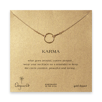 karma necklace, gold dipped