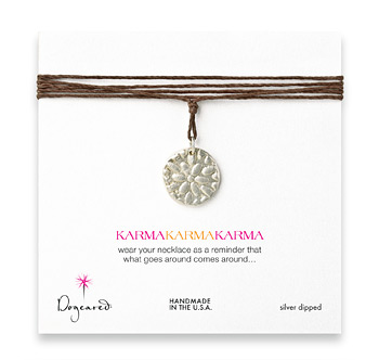 large+karma+sterling+silver+flower+necklace+on+hemp+-+32+inches