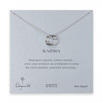 triple karma ring necklace, silver dipped