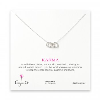 small multi-link sparkle karma necklace, sterling silver