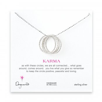 medium multi-link sparkle karma necklace, sterling silver